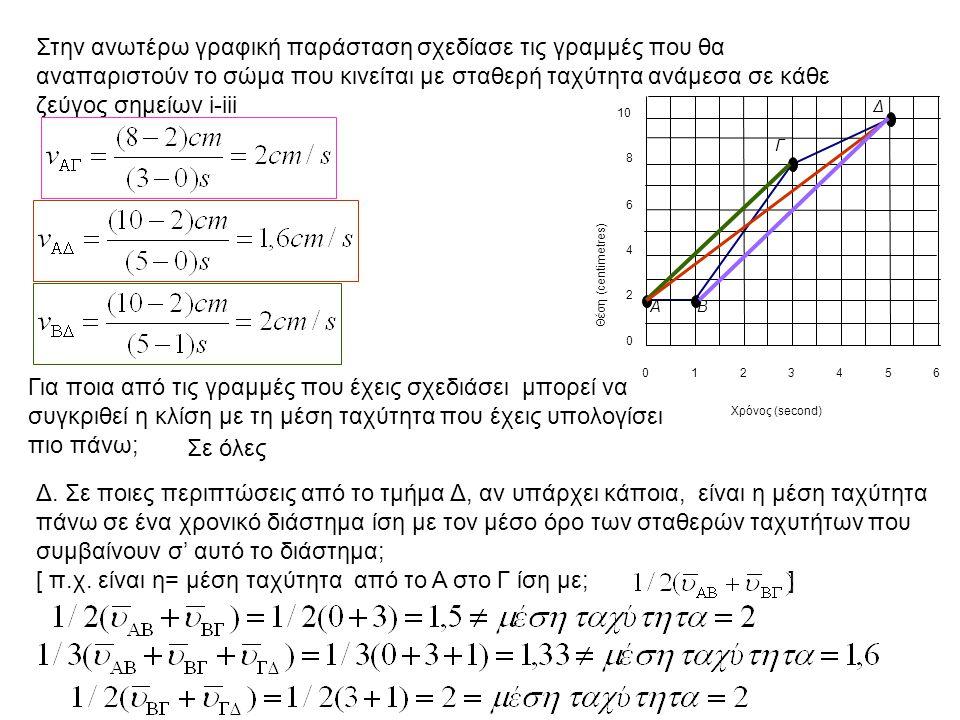 [ π.χ. είναι η= μέση ταχύτητα από το Α στο Γ ίση με; ]